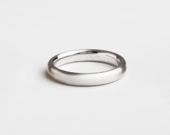 Classic Gold Wedding Ring, 18k White Gold Ring Wedding Band, Men's Simple Wedding Ring, Men's White Gold Band Comfort Fit 14K