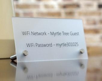 Free Wifi Password Wireless Internet Display Sign - Acrylic 4 x 8 inch Sign