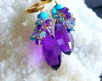 African Amethyst Turquoise Tanzanite and Apatite Gemstone Cluster Earrings on Gold Vermeil Hoops February Birthstone Gift for Her