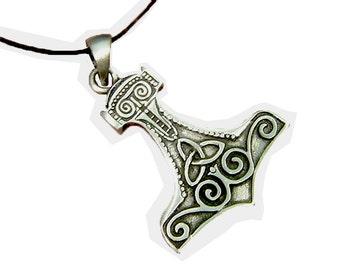 Thor's Hammer Necklace Pewter Pendant Viking Mjollnir Norse 1839B