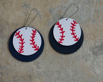 Leather Baseball Earrings - Game Day Sports Earrings - Sports Fan Gift - Lightweight Earrings - Baseball Jewelry - Team Spirit Wear