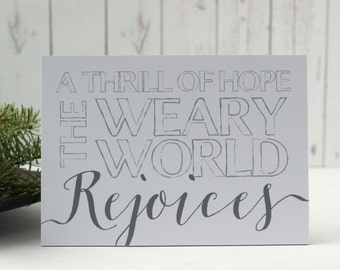 A Thrill of Hope The Weary World Rejoices, Christmas Sign, Small Quote Sign, Christmas Word Sign, Christmas Words, Christmas Song, Word Sign