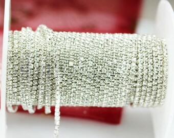 1M or 10M 3mm Silver Plated Brass Rhinestone Decorative Strass Jewelry Finding 3mm Cup Chain, Rhinestone 3mm-WC0338