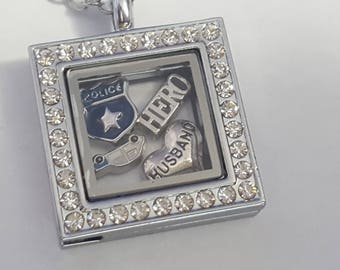 Police Officer Family Member Floating Charm Locket - Personalize - Includes Chain!