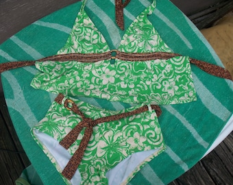 Ladies 2 pc Green and White Bathing Suit