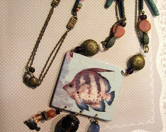 long necklace, blue lagoon, fish, starfish, beads, ethnic