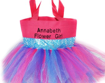 Kids Purse, Tutu Bag, Dance Bag, Blue Whimsical Ribbon Free Name Embroidered on the Bag. Personalized Girl, Ballet Bag, Dance Class Bag
