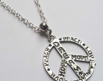 Grafitti Peace Sign Necklace , CND Necklace , Hippie Necklace , Retro , 60's , Hope Necklace , Dream Necklace , Love Necklace , Festival