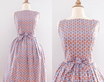 1950s Paisley Bow Sundress // Vintage 50s New Look Cotton Blue Dress