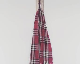 Magenta Plaid Scottish Wool Scarf/ Dark Pink Plaid Scarf Made in Scotland/ Vintage Maroon Plaid Wool Scarf