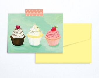 3 cupcakes Birthday card turquoise illustration.
