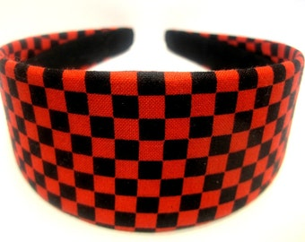 Black Red Checkered Headband 2 Inch