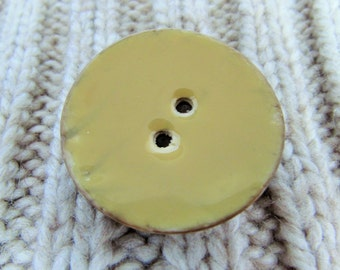 Yellow Enamel Coconut Button