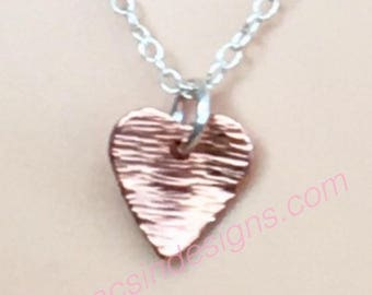 Laura heart pendant, bark texture copper and sterling silver, dainty necklace