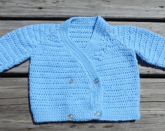 Hand Crocheted Baby Boys Sweater   0-6 mth size