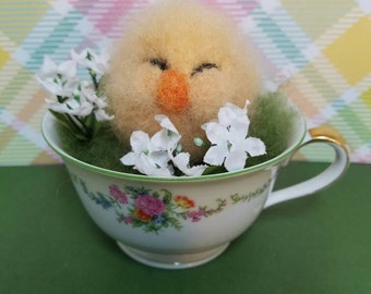 Needle felted Chick, Easter chick, Fiber Artist Collectible, gift idea, chick in teacup, unique gift idea.
