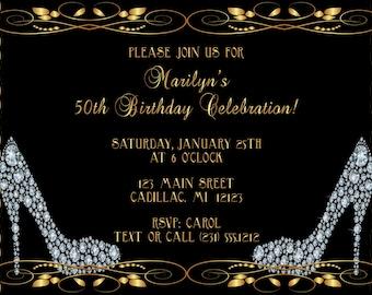 Diamond Shoes Adult Birthday Invitation, Adult Birthday Party Invite - 50th Birthday Invitation