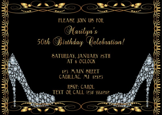 Diamond shoes adult birthday invitation adult birthday party like this item filmwisefo Image collections