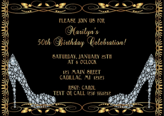 Diamond shoes adult birthday invitation adult birthday party filmwisefo