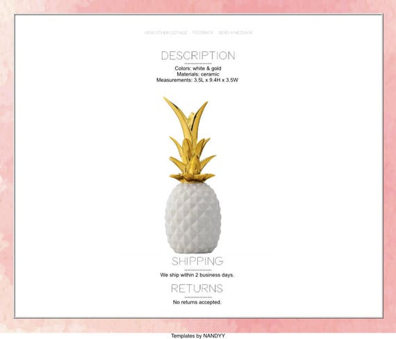Premium Coral Watercolor eBay Listing Template Menu