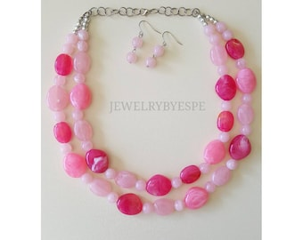 Statement Necklace Hot Pink Necklace Blush Pink Beaded Necklace Wedding Jewelry Chunky Bib Layered Necklace Multi Strand Gifts for her