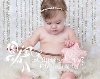 Gold and Rhinestone Headband, lots of sparkle for photo shoots, Lil Miss Sweet Pea, infant, bebe, photographer, infant couture, diamonds