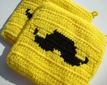 Bright Yellow and Black Mustache Potholders, Crocheted, Crochet Potholders, Pot Holders, Hot Pads, Trivet Set of Two