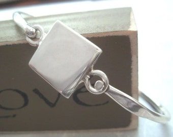 Sterling Silver Engravable Square Bangle Bracelet