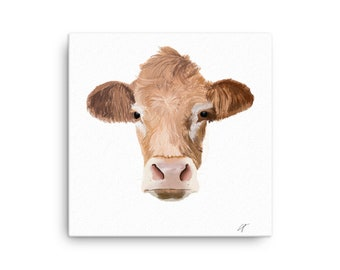 Bovine Canvas Print, Cow Wall Art, Home Decor