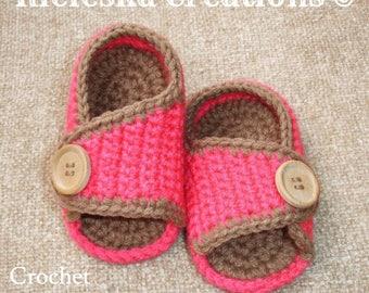 Crochet PDF Pattern- Baby Sandals-shoes/SIZES: Newborn - (3 - 6 months, 6 - 9 months).