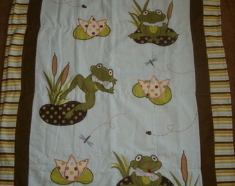 BaBy BlanKet, Darling FROGS in brown. blue, and green  flannels , appliqued, Very CUTE