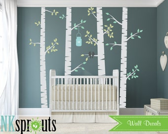 Birch Set with Birds Decal, Birch decal, Large birch tree, Birch forest, Modern Nursery, Nursery decals, Baby Decals, Baby Shower