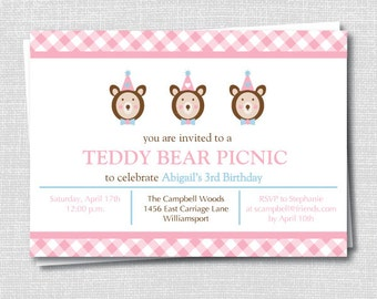 Teddy bear picnic shirt first birthday onesie first birthday