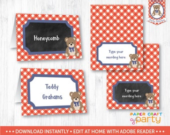 Teddy Bear Picnic Table Tents - Printable Teddy Bear Food Labels - Buffet Labels - Red - Instant Download & Edit in Adobe Reader TB11
