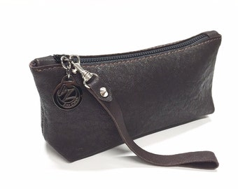 Slim Cosmetic Bag - makeup brush bag - wristlet style - travel - Leather -suede