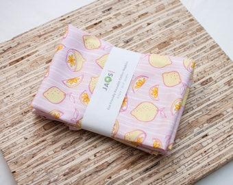 Large Cloth Napkins - Set of 4 - (N5789) - Pink Citrus Lemon Modern Reusable Fabric Napkins