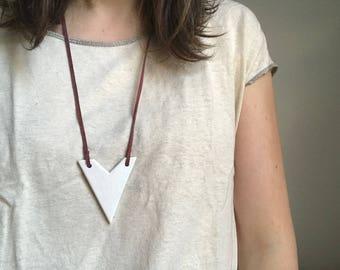 White Chevron Ceramic Necklace with Suede Cord