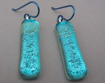 Dichroic fused glass earrings Pale Aqua shimmer translucent dangle earrings Hypo-allergenic niobium ear wires dichroic fused glass jewelry