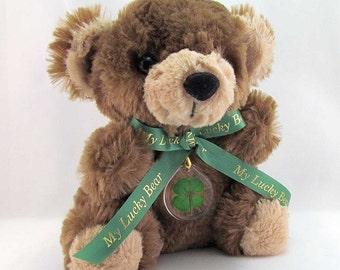 Brown Lucky Teddy Bear with Real Four Leaf Clover - TBC-4M