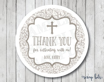 Thank You Communion Stickers, Communion Thank You Tags, Thank You For Celebrating With Me, Baptism Favor Tags, Baptism Labels, Small Cross