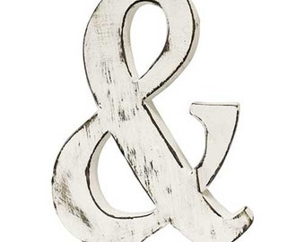 "Ampersand.... hand made wooden &, also complete matching alphabet... shabby chic 6"" high approx."