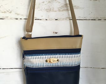 Navy/Tan Triple Zipper Crossbody Bag