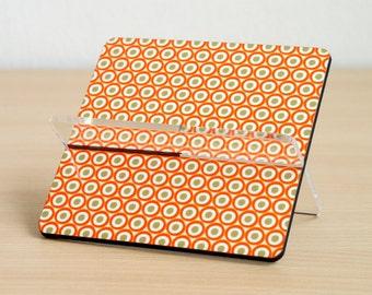 Business card holder desk accessories desk organizer home office orange pumpkin polka dots