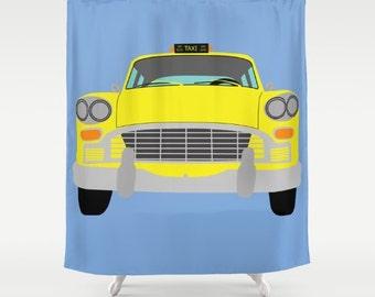 New York Yellow Taxi shower curtain-Manhattan Cab Shower curtain-Cool Shower curtain-Colourful yellow cab curtain-Automobile Curtain