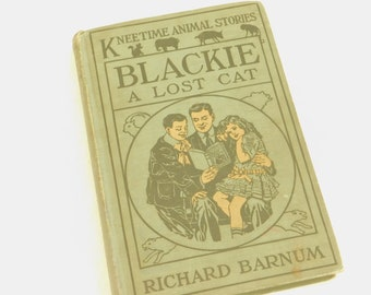 Vintage Kneetime Animal Stories, Blackie A Lost Cat, Richard Barnum, 1916, Walter S Rogers Illustrator, Gift for Child Reader, Library