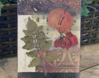 Flower art, mixed media art, small art, country chic, nature collage, wall hanging, encaustic art