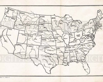 Vintage Map / Antique U.S. Map / U.S. River Map / Map Print / Digital Instant Download / Antique Tourist Map / Old United States Map