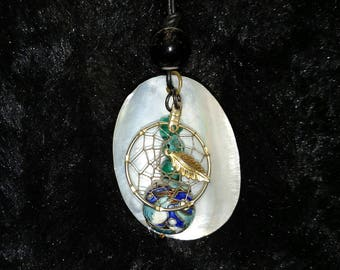 Delicate Turquoise Shell Bead Dream Catcher Pendant Necklace