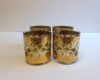 Vintage Mid Century Culver Rocks Glasses ~ Valencia 22k Gold Green Diamonds  ~ Set of 4