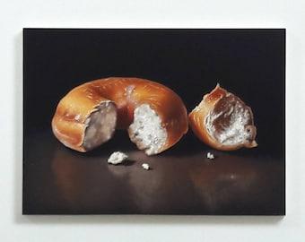 Original oil painting, doughnut still life